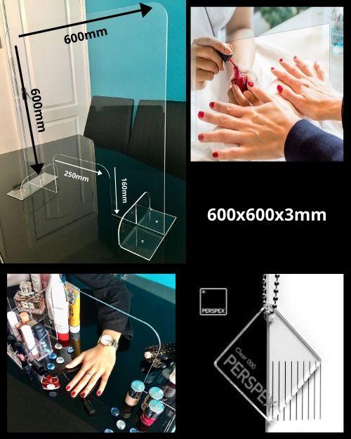 Sneeze Guard 600x600x3mm Nail Salon