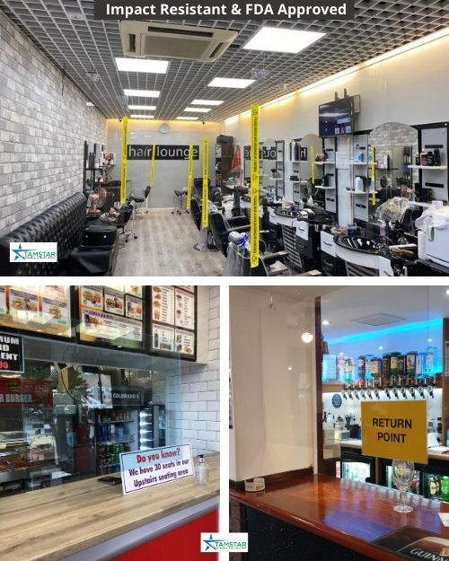 Some of the ways that our customers used the screen in their hair salon, bar and take away